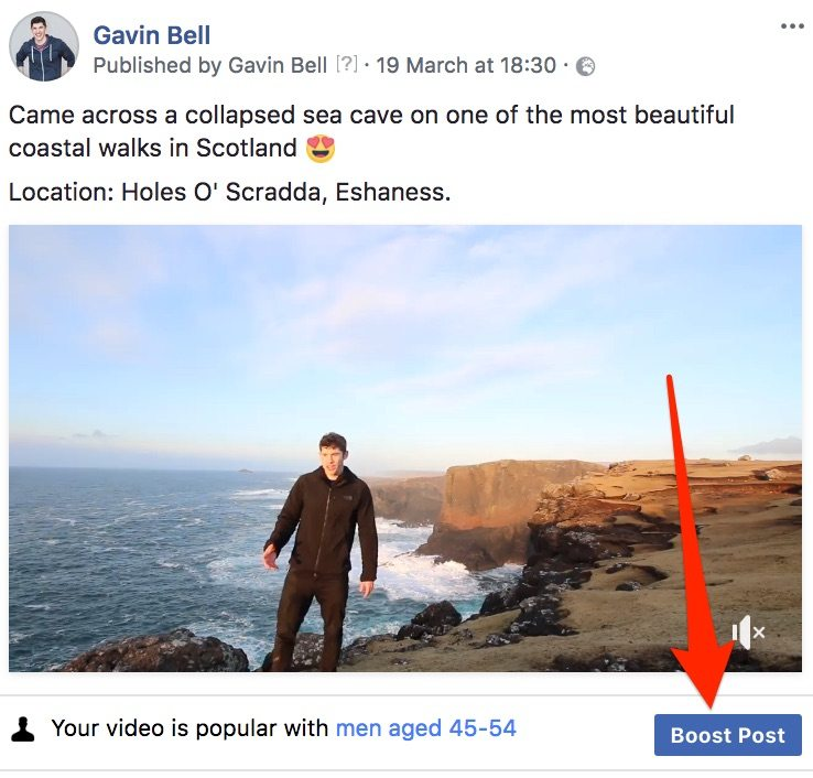 Facebook Boost post button