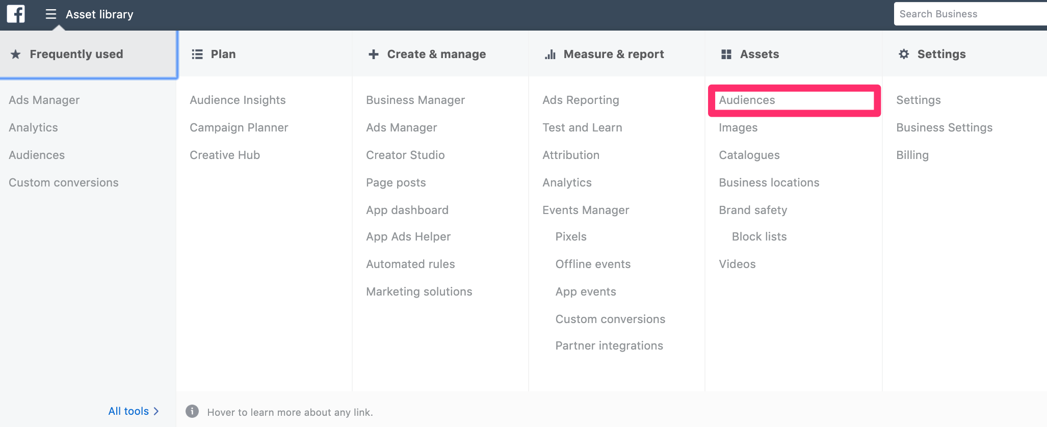 Choosing Audiences in Facebook business manager