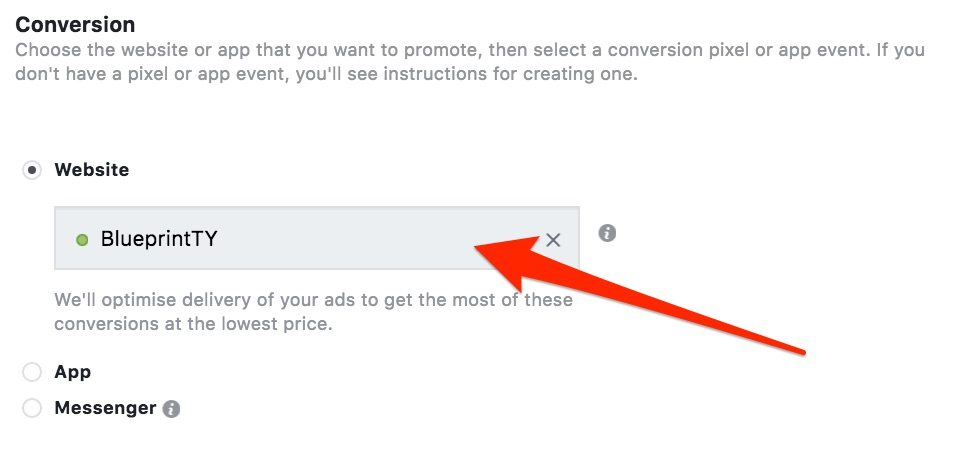 Selecting the custom conversion when creating a Facebook ad