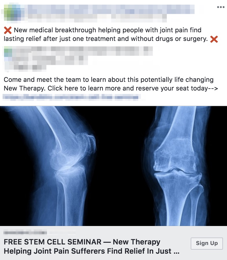 Example of a chiropractor stem cell seminar Facebook ad