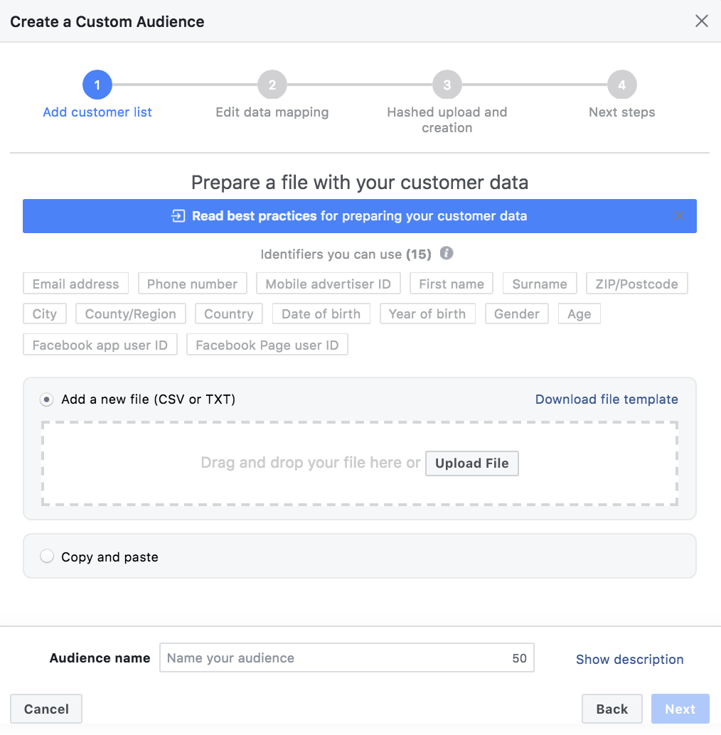 Creating a Facebook customer file custom audience