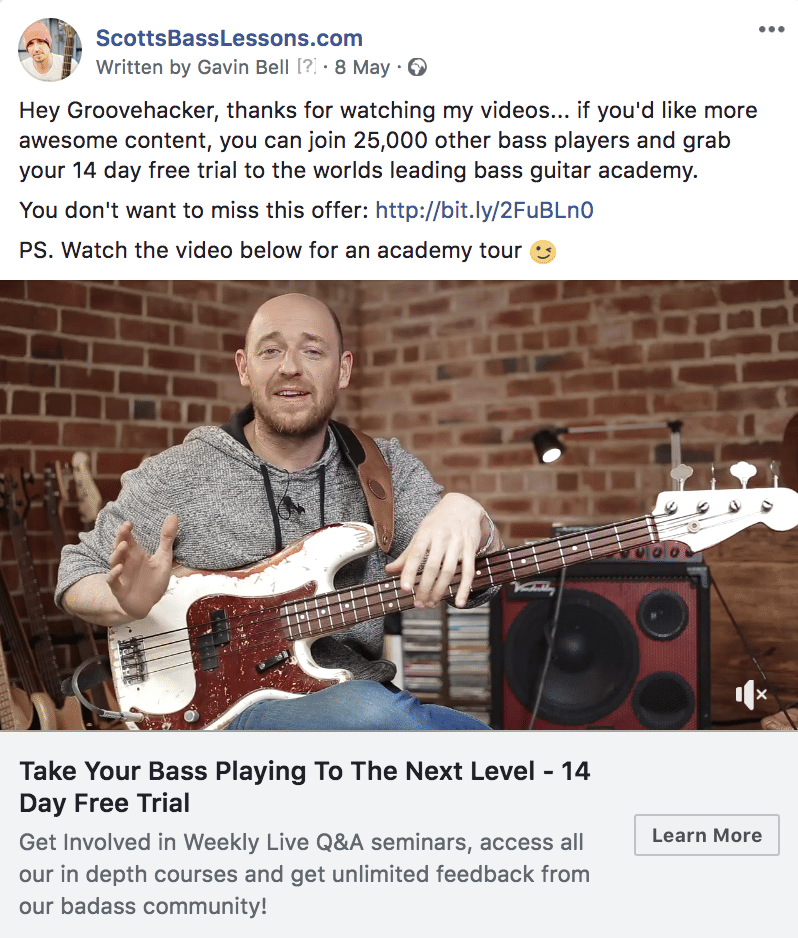 Facebook retargeting ad