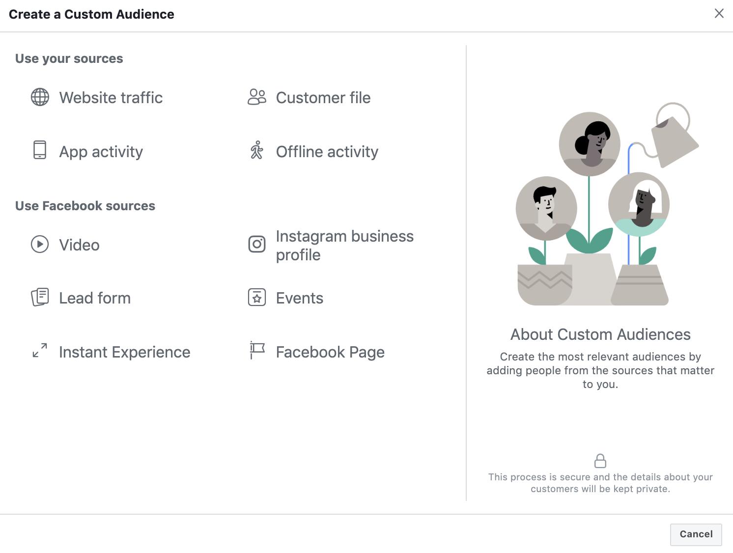 Selecting Facebook Custom Audience